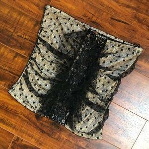 Vintage Lace Strapless Dress Shirt Top